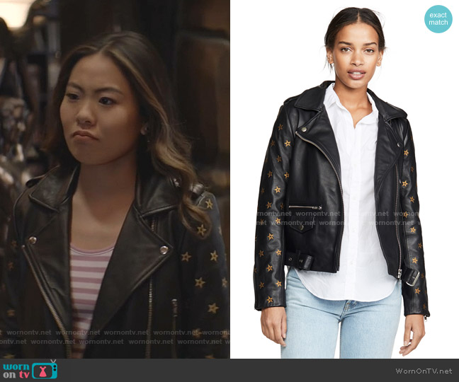 Leather Embroidered Star Sleeve Biker Jacket by Scotch & Soda/Maison Scotch worn by Mary Hamilton (Nicole Kang) on Batwoman