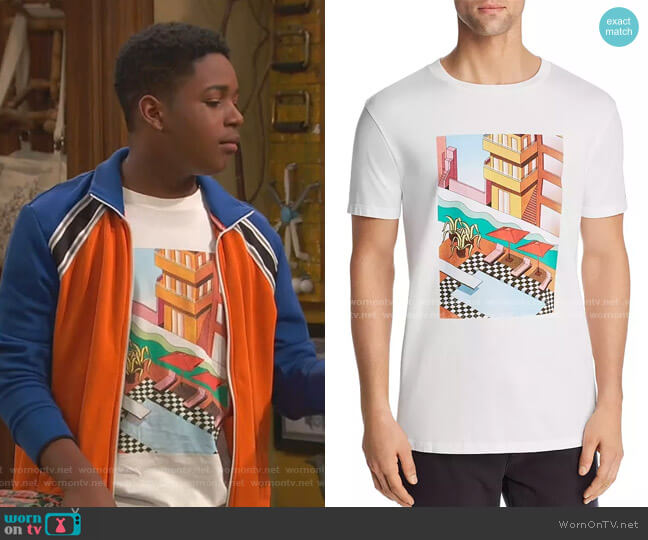 Urban Pool Graphic Tee by Scotch & Soda worn by Booker Baxter (Issac Ryan Brown) on Ravens Home