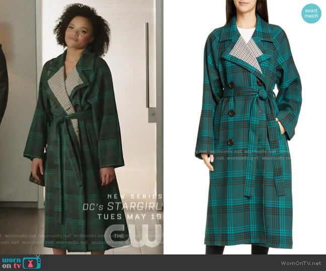 Belted Double Face Plaid Coat by See by Chloe worn by Vanessa (Jade Payton) on Dynasty