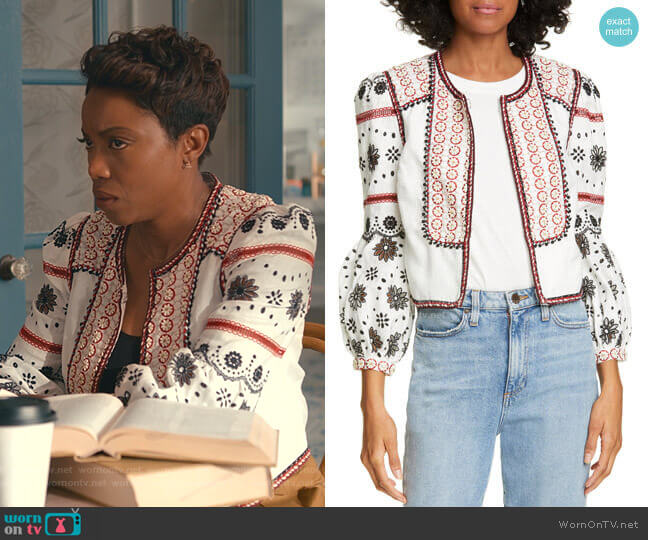 Shilin Jacket by Veronica Beard worn by Helen Decatur (Heather Headley) on Sweet Magnolias