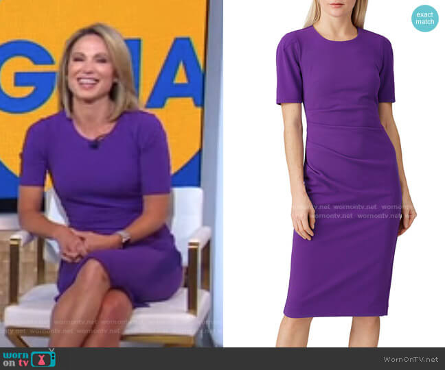 Crew Neck Sheath Dress by Slate & Willow worn by Amy Robach  on Good Morning America