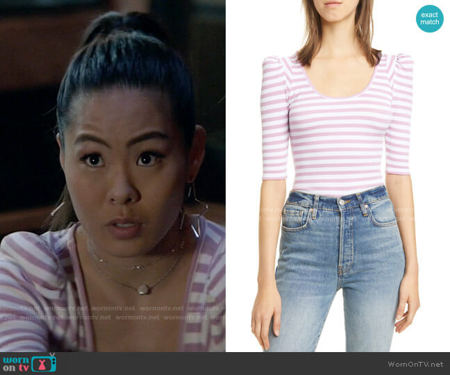Stripe Puff Sleeve Knit Top by Smythe worn by Mary Hamilton (Nicole Kang) on Batwoman