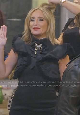 Sonja's black ruffled dress on The Real Housewives of New York City