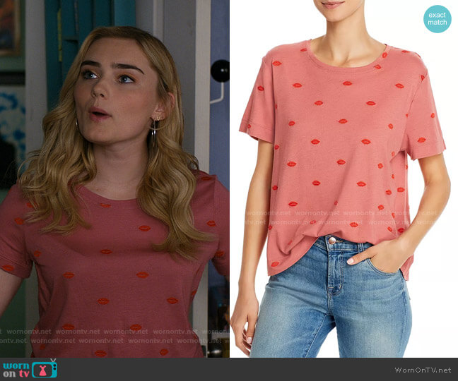 For The Love of Embroidered Lips Top by Splendid worn by Taylor Otto (Meg Donnelly) on American Housewife