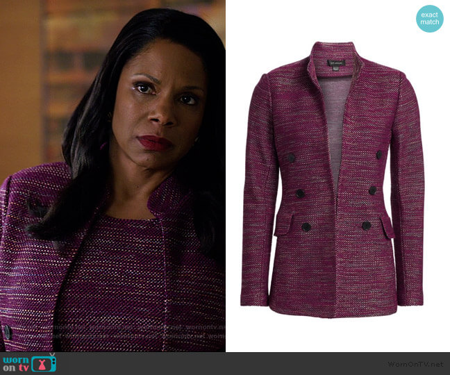Ombre Ribbon Tweed Mandarin Collar Jacket by St. John worn by Liz Reddick-Lawrence (Audra McDonald) on The Good Fight