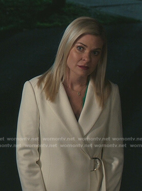 Stephanie's white d-ring wrap coat on Good Witch