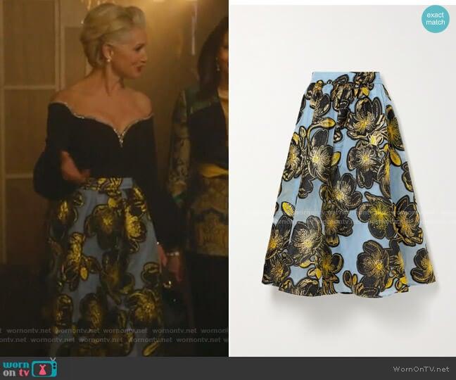 Laila Metallic Floral-Jacquard Midi Skirt by Stine Goya worn by  Gloria Grandbilt (Katherine LaNasa) on Katy Keene