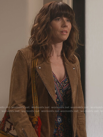 Judy's suede moto jacket on Dead to Me