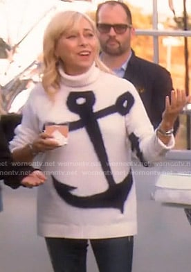 Sutton's white anchor print turtleneck sweater on The Real Housewives of Beverly Hills