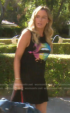 Teddi's black lip print mini dress on The Real Housewives of Beverly Hills