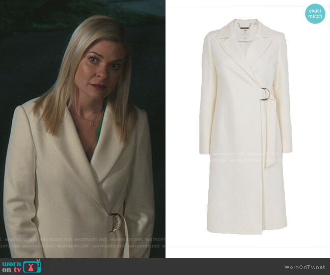 Dezpina Long D-Ring Wrap Coat by Ted Baker worn by Stephanie Borden (Kylee Evans) on Good Witch
