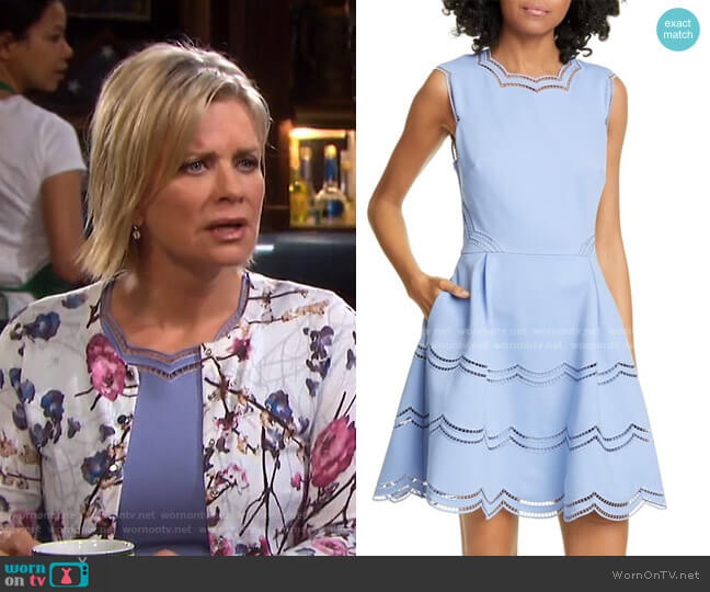 Scalloped Fit & Flare Dress by Ted Baker worn by Kayla Brady (Mary Beth Evans) on Days of our Lives