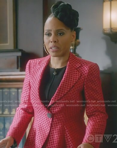 Tegan's red jacquard printed blazer on How to Get Away with Murder