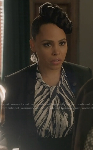 Tegan's zebra stripe twisted top on How to Get Away with Murder