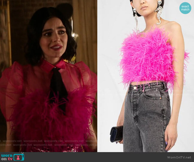 Feather Cropped Top by The Attico worn by Katy Keene (Lucy Hale) on Katy Keene