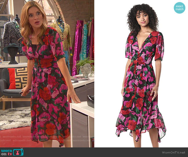 Floral Summer Silk Midi Dress by The Kooples worn by Chelsea Grayson (Anneliese van der Pol) on Ravens Home