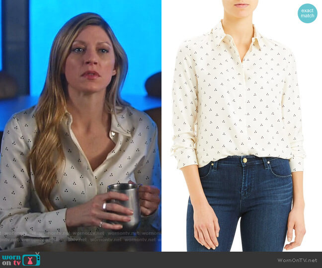 Dot Triangle Silk Shirt by Theory worn by Ava Sharpe (Jes Macallan) on Legends of Tomorrow
