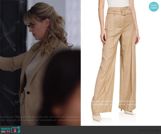 High-Waist Sleek Flannel Belted Pants by Theory worn by Kara Danvers (Melissa Benoist) on Supergirl