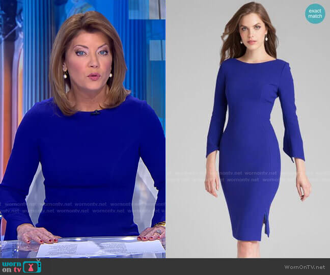 3/4 Sleeve Crepe Dress by Teri Jon by Rickie Freeman worn by Norah O'Donnell  on CBS Evening News