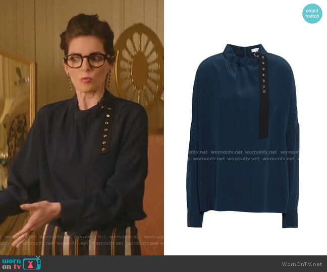 Gathered Buckle-Detailed Silk Blouse by Tibi worn by Cadden Jones on katy keene