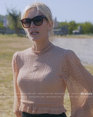 Tinsley's beige knit crop top on The Real Housewives of New York City