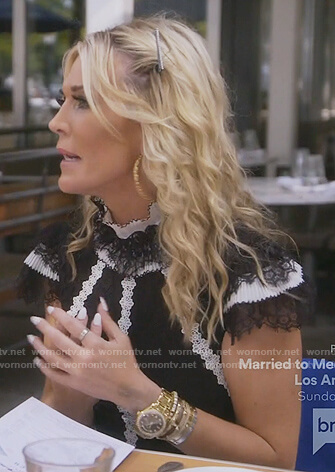 Tinsley's black contrast lace dress on The Real Housewives of New York City