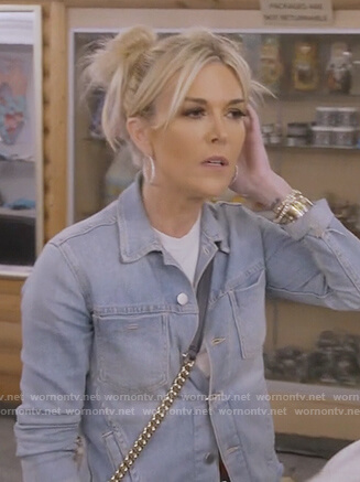 Tinsley's raw hem denim jacket on The Real Housewives of New York City