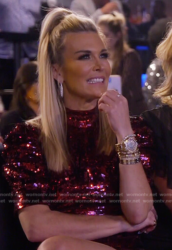Tinsley's red sequin mini dress on The Real Housewives of New York City