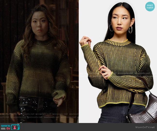 Plaited Knitted Space Dye Sweater by Topshop worn by Mary Hamilton (Nicole Kang) on Batwoman