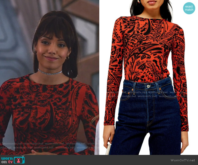 Paisley Stretch Shirt by Topshop worn by Charlie (Maisie Richardson-Sellers) on Legends of Tomorrow