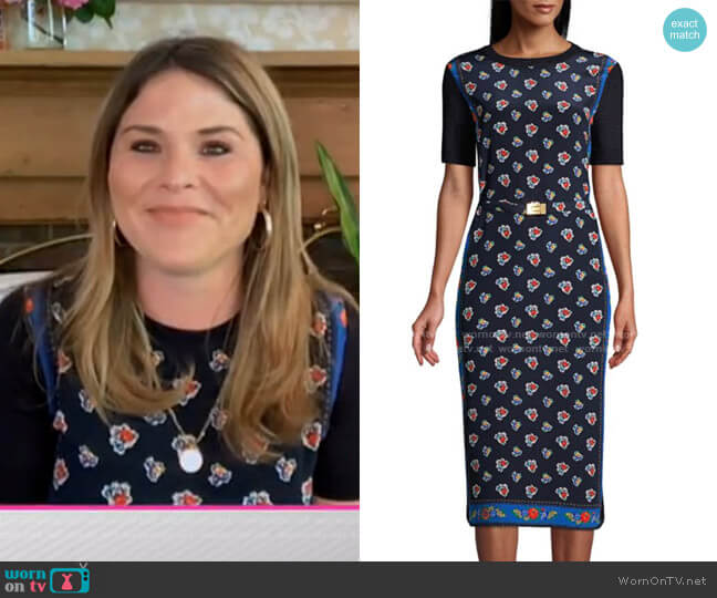 Floral Merino Wool Sheath Dress by Tory Burch worn by Jenna Bush Hager  on Today
