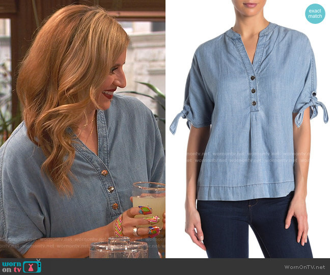 Calle Ocho Chambray Tie Sleeve Top by Trina Turk worn by Chelsea Grayson (Anneliese van der Pol) on Ravens Home
