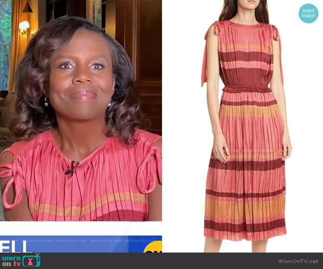 Alessa Stripe Midi Dress by Ulla Johnson worn by Deborah Roberts  on Good Morning America