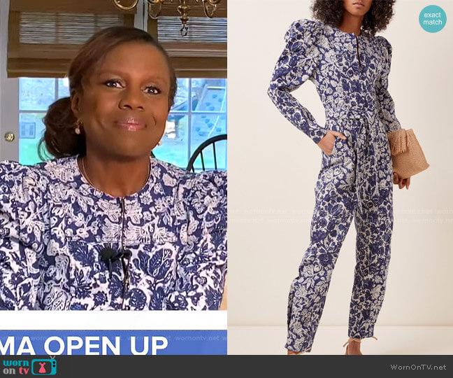 Hesper Floral Print Jumpsuit by Ulla Johnson worn by Deborah Roberts  on Good Morning America