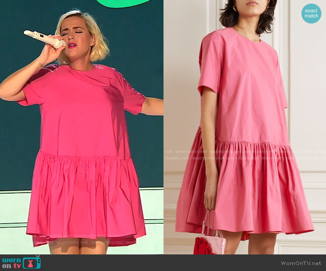 Cotton-Blend Poplin Mini Dress by Valentino worn by Katy Perry  on American Idol