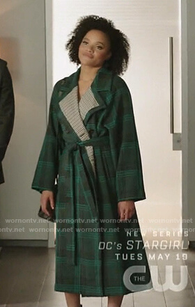 Vanessa's green plaid wrap coat on Dynasty