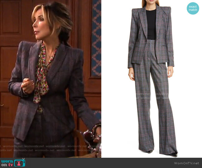 Brock Glen Plaid Dickey Blazer and Tuli Pants by Veronica Beard worn by Kate Roberts (Lauren Koslow) on Days of our Lives