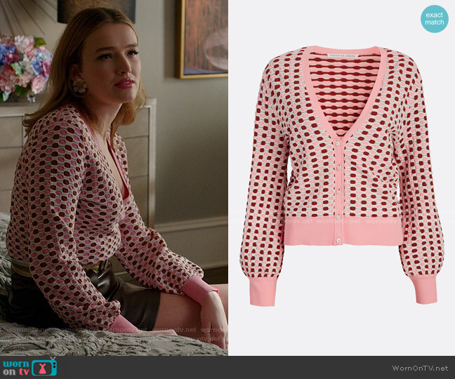Loraine Printed V-Neck Cardigan by Veronica Beard worn by Kirby Anders (Maddison Brown) on Dynasty