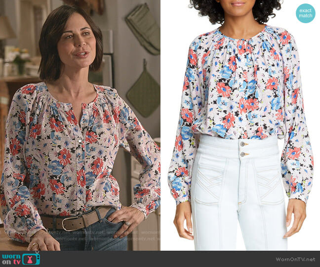 Madge Silk Floral Blouse by Veronica Beard worn by Cassandra Nightingale (Catherine Bell) on Good Witch