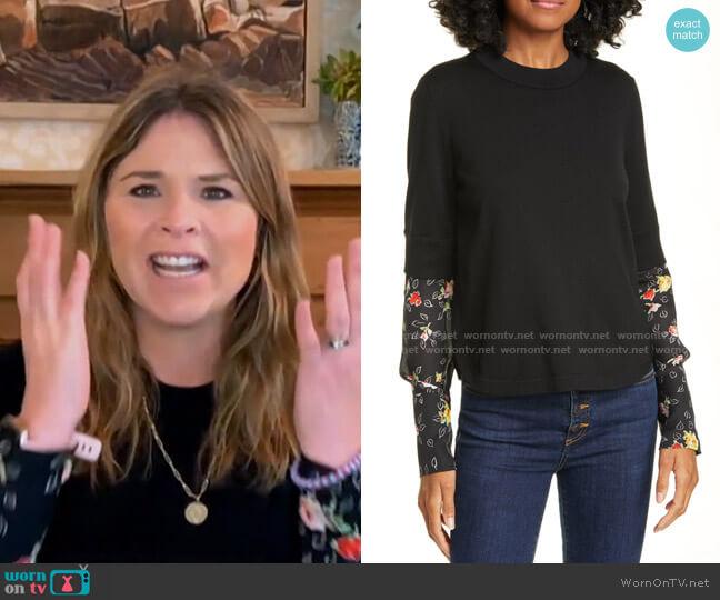 Roscoe Mixed Media Sweater by Veronica Beard worn by Jenna Bush Hager  on Today
