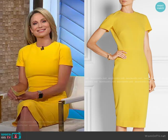 Silk and Wool Blend Crepe Dress by Victoria Beckham worn by Amy Robach  on Good Morning America