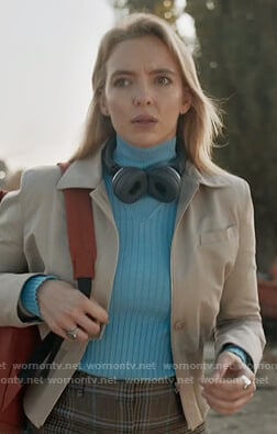 Villanelle's blue turtleneck sweater on Killing Eve