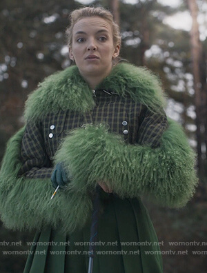 Villanelle's green plaid feather trim jacket on Killing Eve