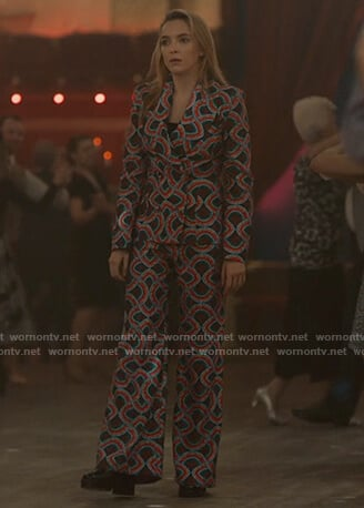 Villanelle's abstract print blazer and pants on Killing Eve