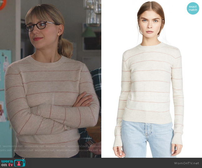 Cashmere Striped Sweater by Vince worn by Kara Danvers (Melissa Benoist) on Supergirl