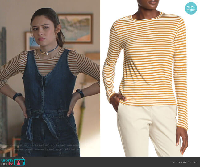 Striped Long Sleeve T-Shirt by Vince worn by Nia Nal (Nicole Maines) on Supergirl