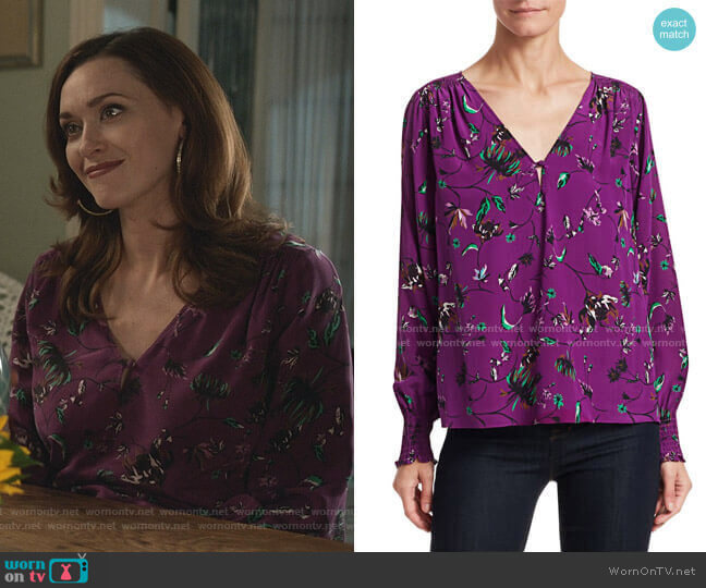 Vines Silk V-Neck Top by Tanya Taylor worn by Abigail Pershing (Sarah Power) on Good Witch