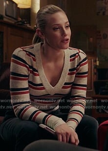 Betty's white striped sweater on Riverdale
