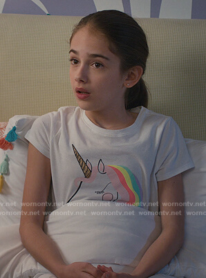 Anna's white unicorn print tee on American Housewife
