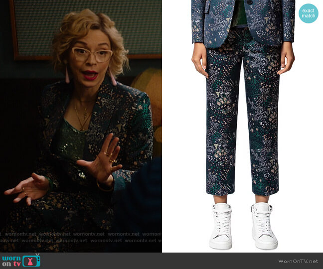 Posh Mixed-Print Jacquard Pants by Zadig & Voltaire worn by Pepper Smith (Julia Chan) on Katy Keene